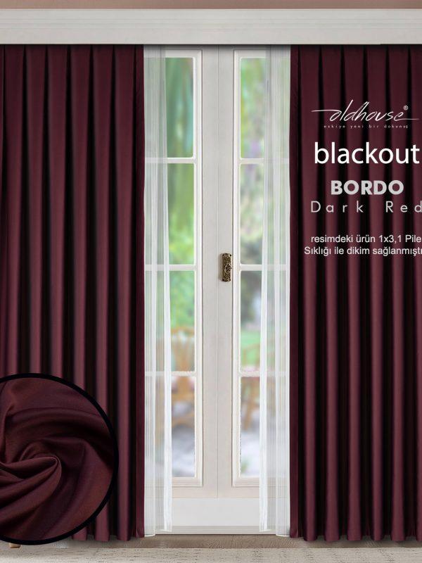 Oldhouse Bordo Blackout Karartma Güneşlik Fon Perde