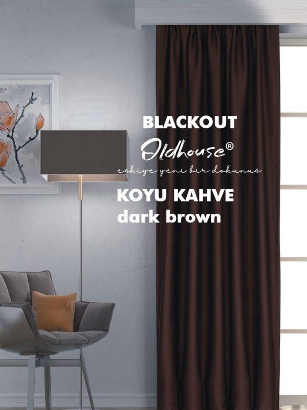 Oldhouse Koyu Kahve Blackout Karartma Güneşlik Fon Perde