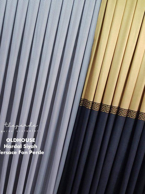 Oldhouse Versace Dijital Baskı Hardal Siyah Panel Fon Perde Bantlı Yeni Moda Fon Perde