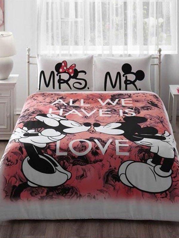 Taç Disney Mickey And Minnie Beloved Lisanslı Çift Kişilik Nevresim Takımı