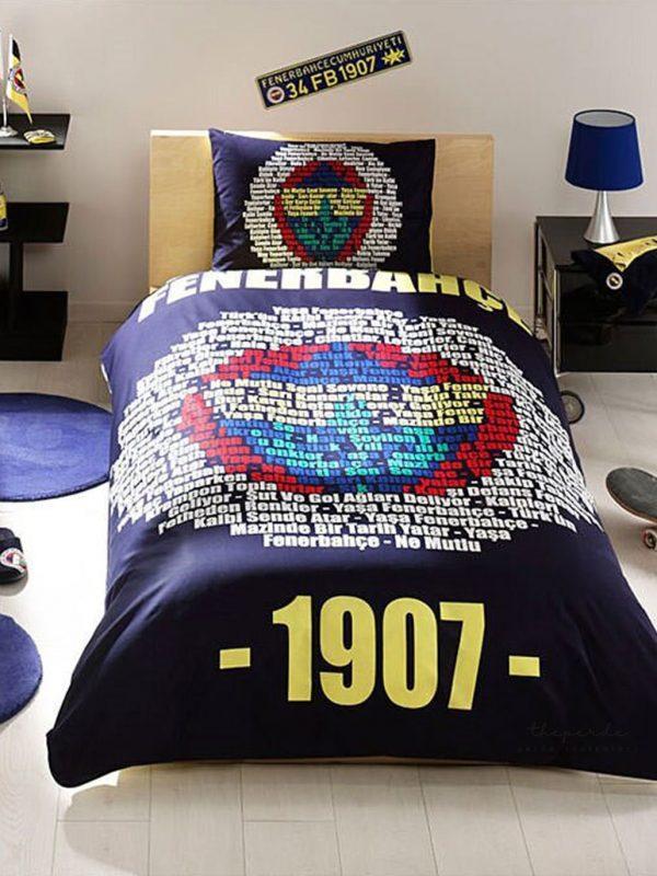 Taç Fenerbahçe Marşlı Logo Lisanslı Tek Kişilik Nevresim Takımı