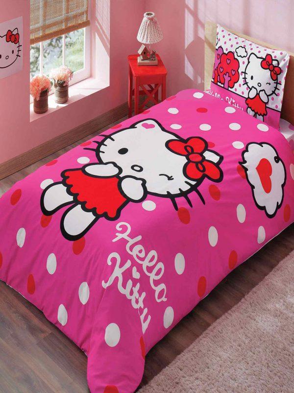 Taç Hello Kitty Pink Lisanslı Tek Kişilik Nevresim Takımı