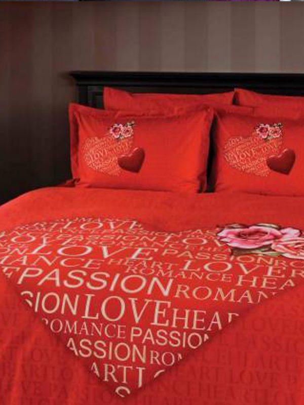 Taç Romance Kırmızı Tek Kişilik Percale Nevresim Takımı